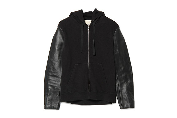 undercover j4801 leather sleeved hoodie
