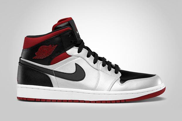 Air Jordan 1 Mid - Metallic Platinum/Gym Red