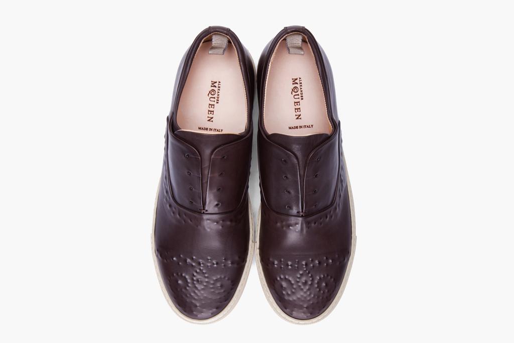 Alexander McQueen Dark Brown Embossed Leather Shoes
