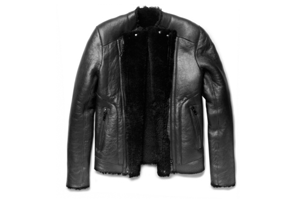 balmain shearling lined slim fit leather jacket