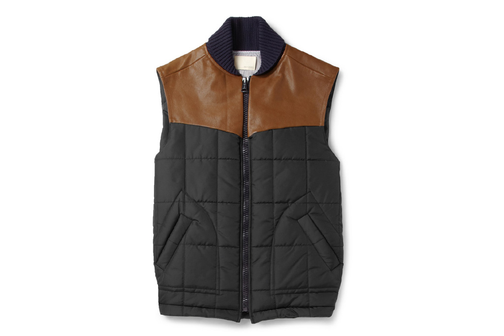 Band of Outsiders Leather Trimmed Quilted Vest
