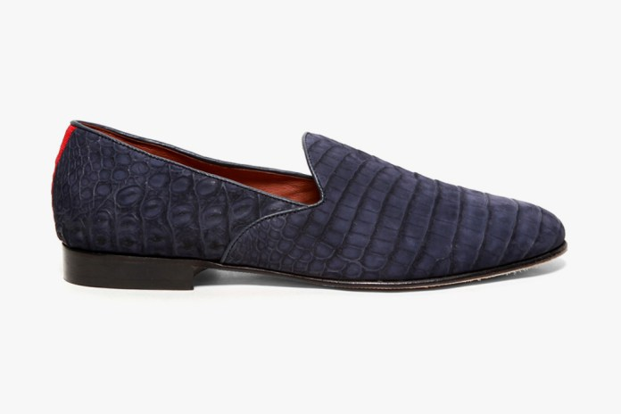 Del Toro Bespoke Exotic Series Suede Navy Crocodile Slipper