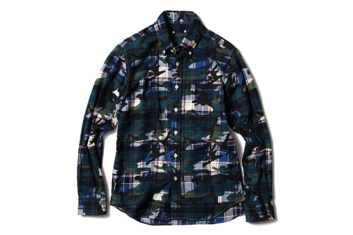 SOPHNET. CAMOUFLAGE OVER PRINT FLANNEL B.D SHIRT
