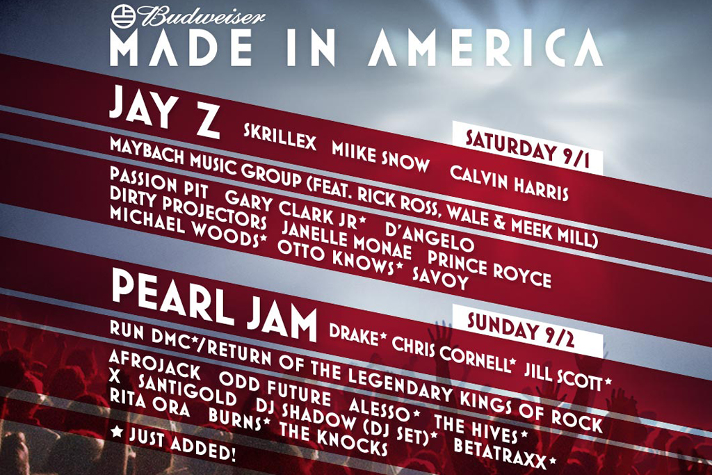 Win Two Free One-Day Passes for Jay-Z's MADE IN AMERICA FESTIVAL!