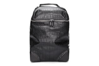 Alexander Wang Black Croc Embossed Leather Wallie Backpack