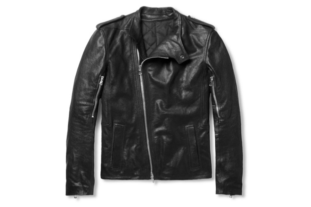 balmain full grain leather biker jacket