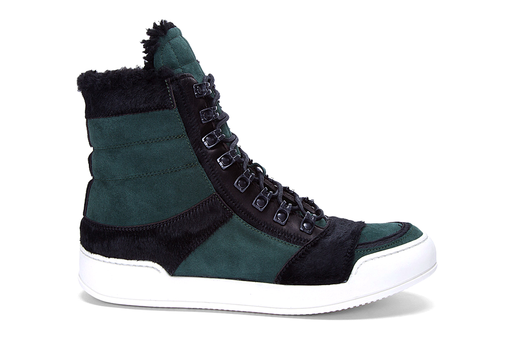 balmain suede and calf hair high top sneakers