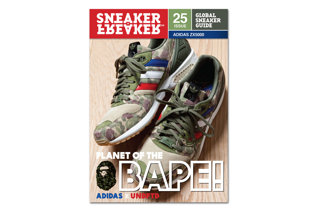 bape x undftd x adidas zx5000 on the cover of sneaker freaker issue 25