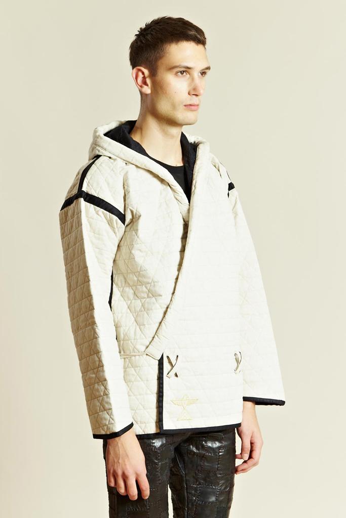 BLACKMEANS Quilting Hooded Kimono Jacket