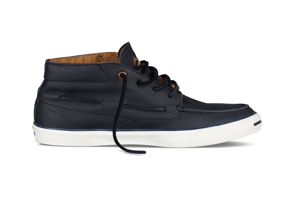 converse jack purcell mid top navy leather boat shoe