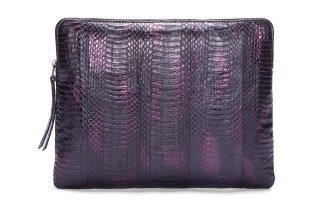 Lanvin Purple Combo Snakeskin Zip Bag
