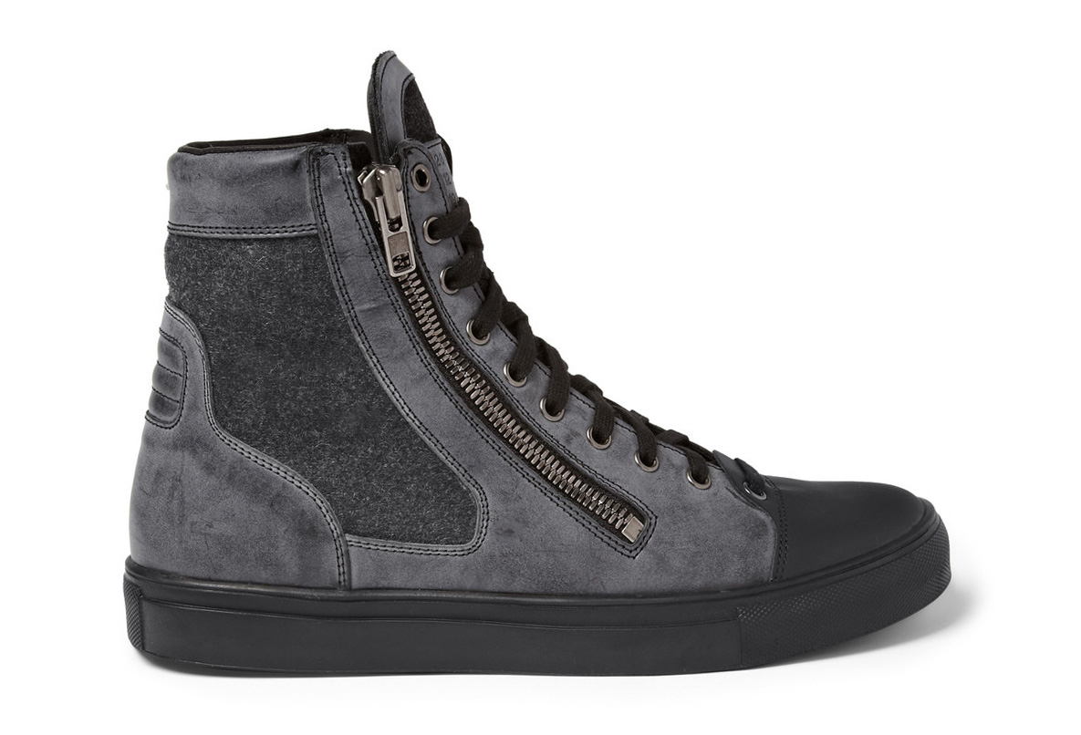 Maison Martin Margiela Leather and Wool High Top Sneakers