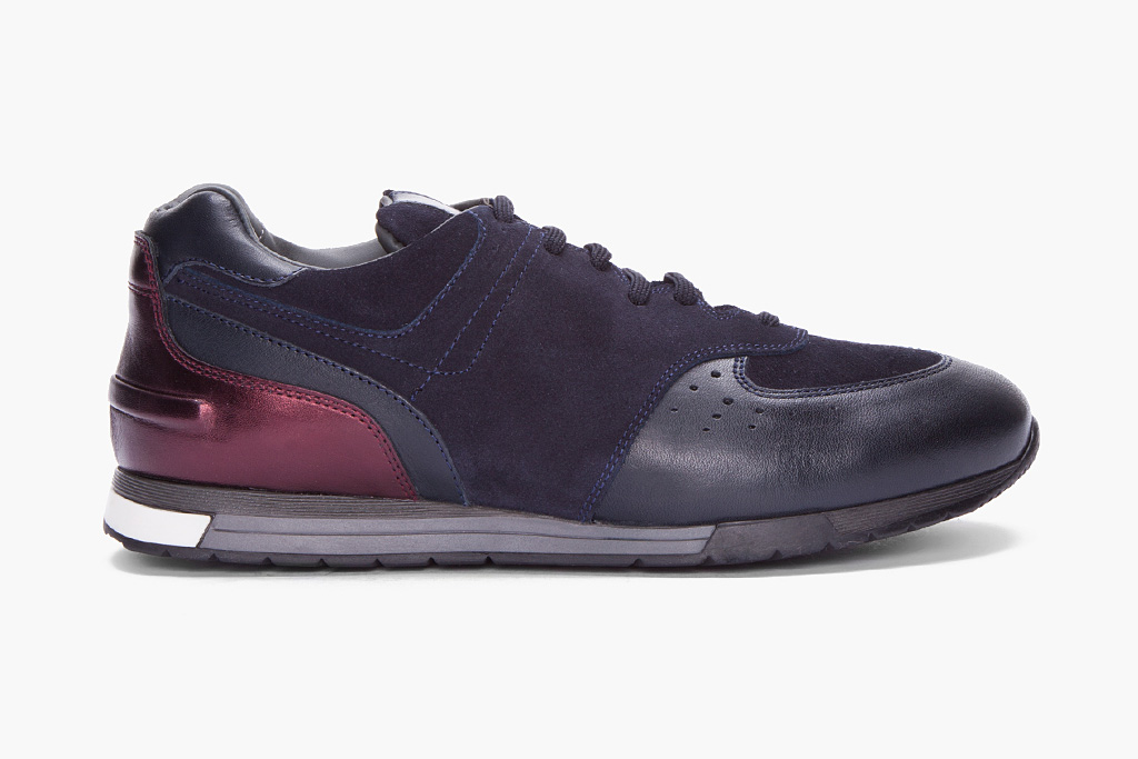 Neil Barrett Navy Suede Retro Runner