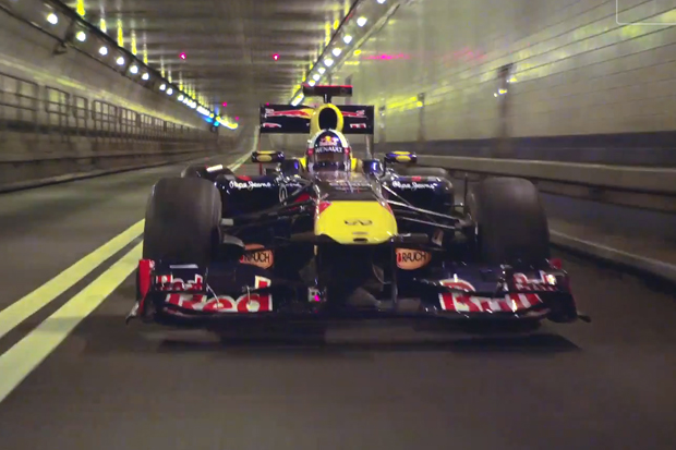 Red Bull Racing's Formula One Car Burns Rubber on the Streets of New York