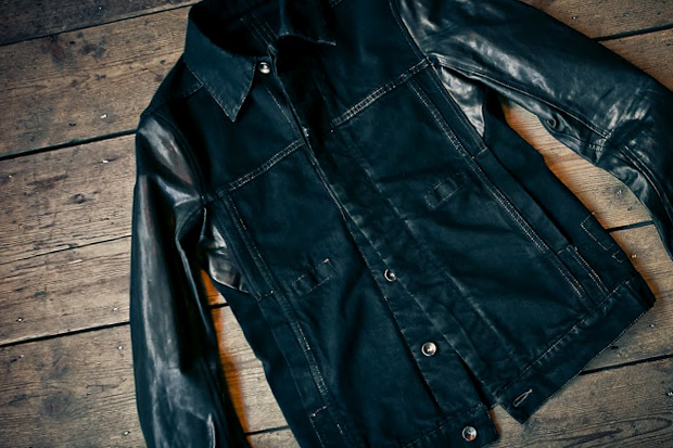 Rick Owens DRKSHDW Leather Sleeve Denim Jacket