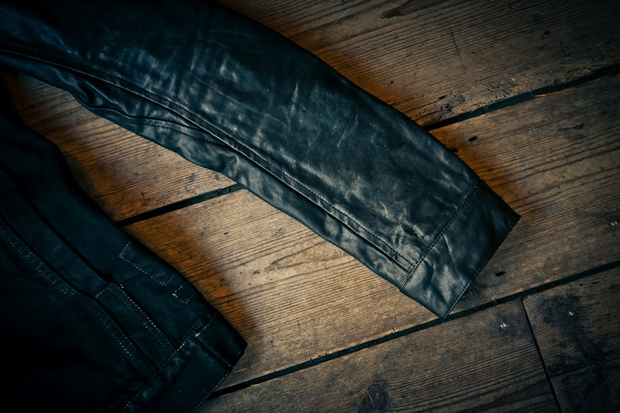 Rick Owens DRKSHDW Leather Sleeve Denim Jacket