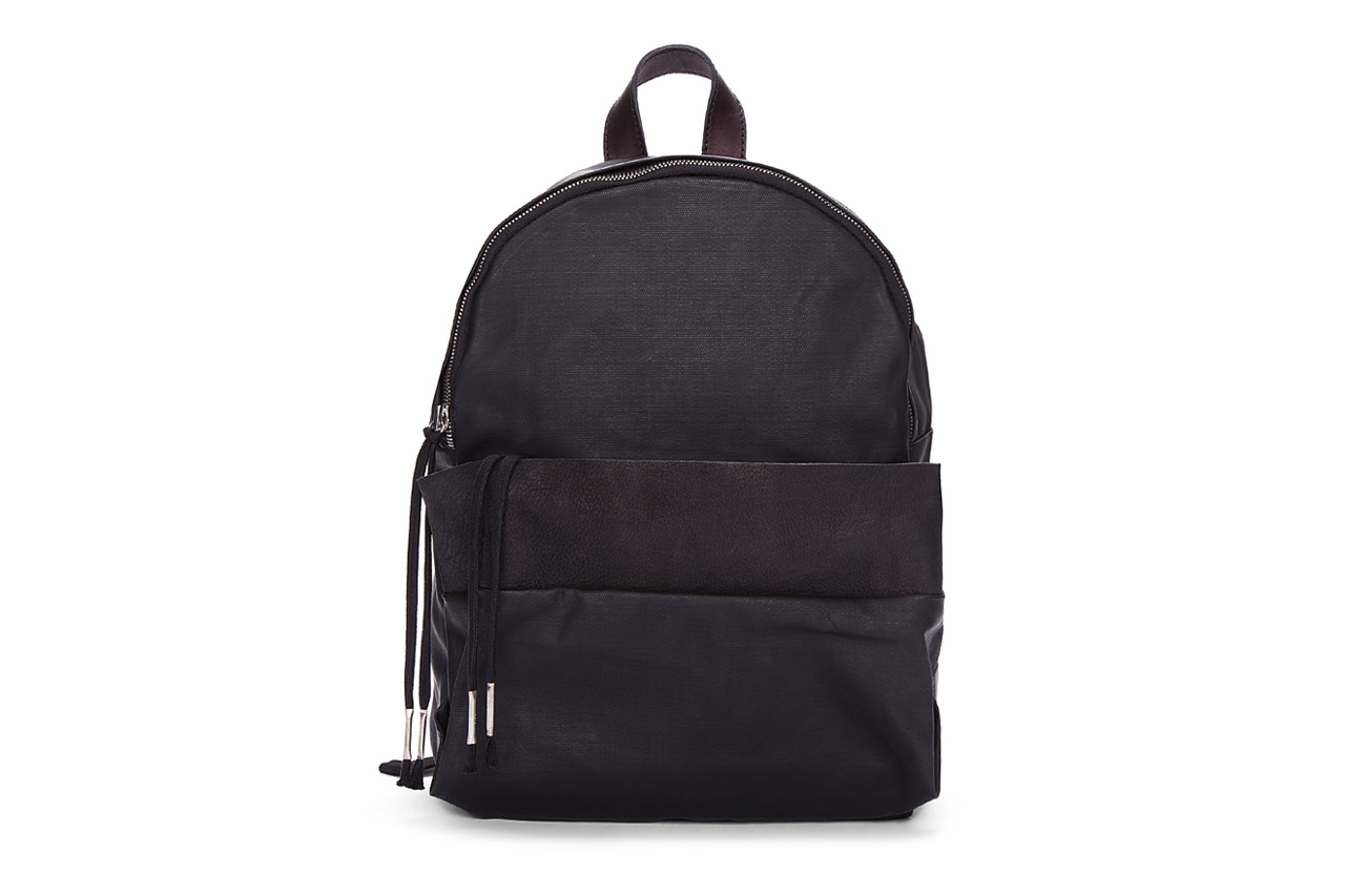 silent damir doma black leather trimmed bango backpack