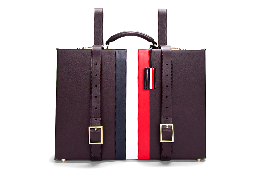 thom browne espresso smooth grain briefcase backpack