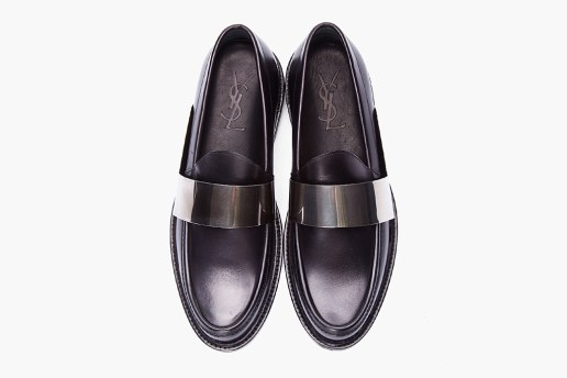 Yves Saint Laurent Black Leather Brass Bar Loafers