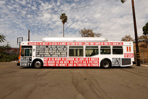 barbara krugers iconic styles covers los angeles buses for art matters