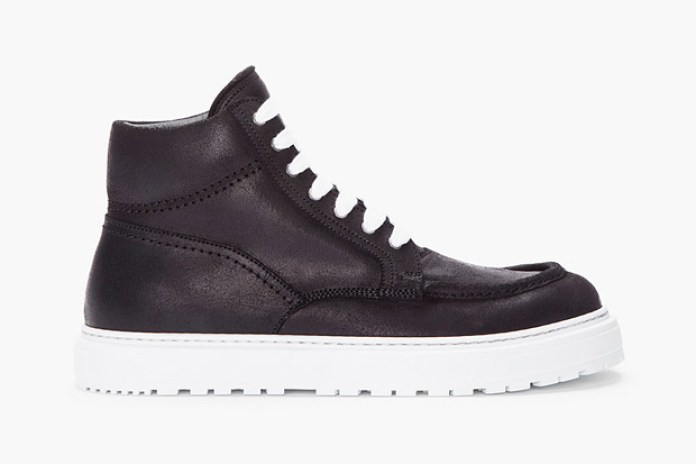 KRISVANASSCHE 2012 Fall/Winter Black Leather Boat Sneaker
