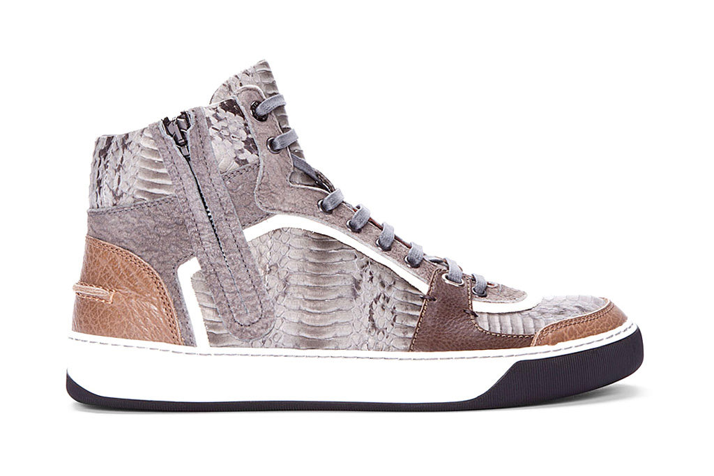 lanvin high top snakeskin tennis shoes