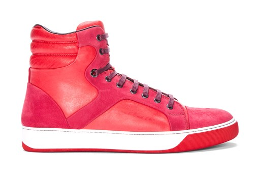 Lanvin Red Leather Puzzle Tennis Shoes
