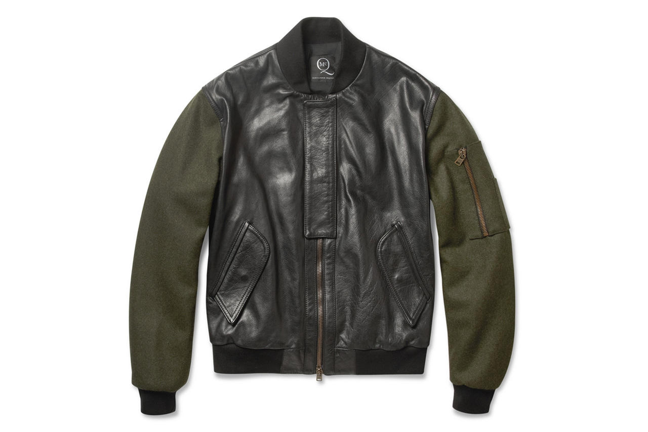 McQ by Alexander McQueen 2012 Fall/Winter Contrast-Sleeve Padded Leather Bomber Jacket