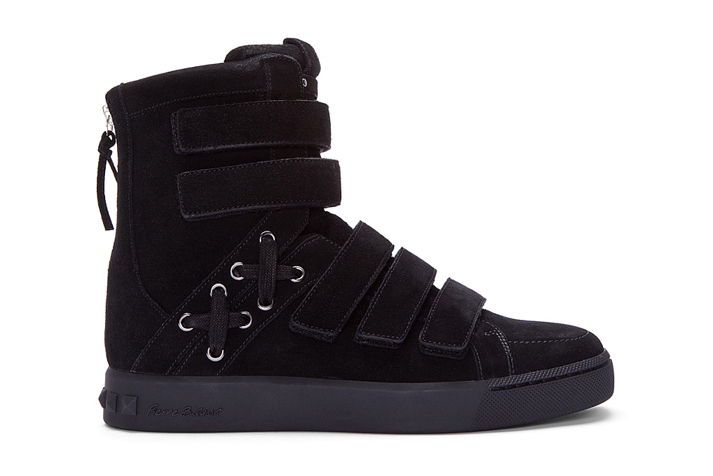 Pierre Balmain Black Strapped Hi-Top Sneakers
