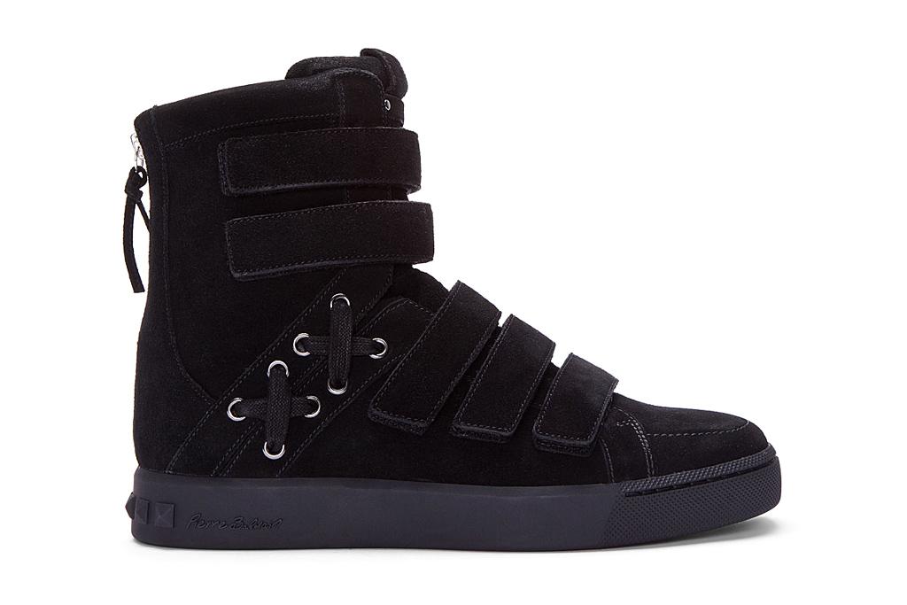 pierre balmain black strapped hi top sneakers