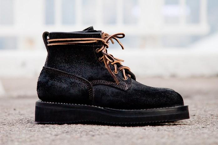 Viberg Black Oil Rough Out Bobcat Suede Boots