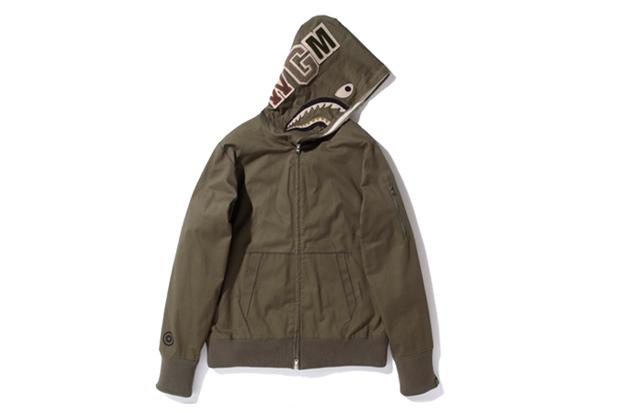 a bathing ape herringbone shark full zip hoodie