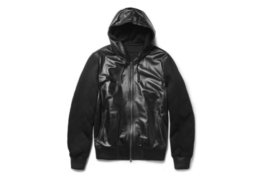 Givenchy Leather & Quilted Neoprene Hooded Jacket