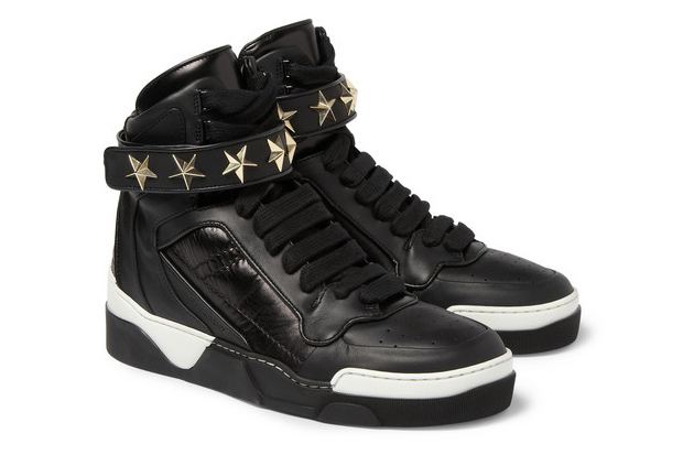 givenchy star detail leather high top sneaker