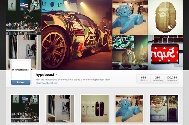 hypebeast instagram web profile now online