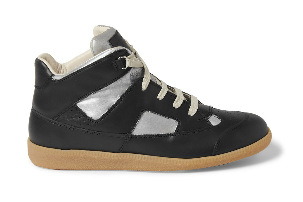 maison martin margiela 2012 painted paneled leather high top sneaker