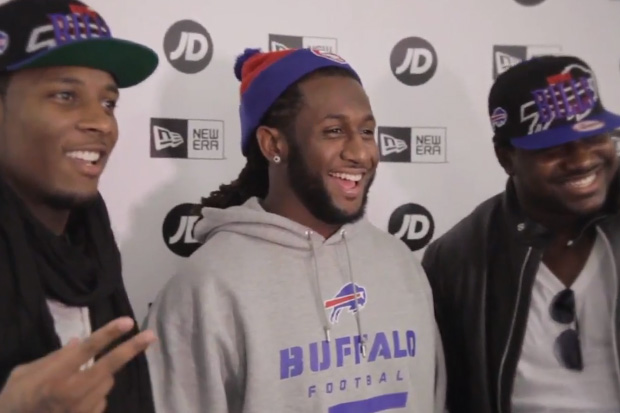Marcell Dareus, Stevie Johnson and Kelvin Sheppard of the Buffalo Bills New Era Meet and Greet @ JD Sports London