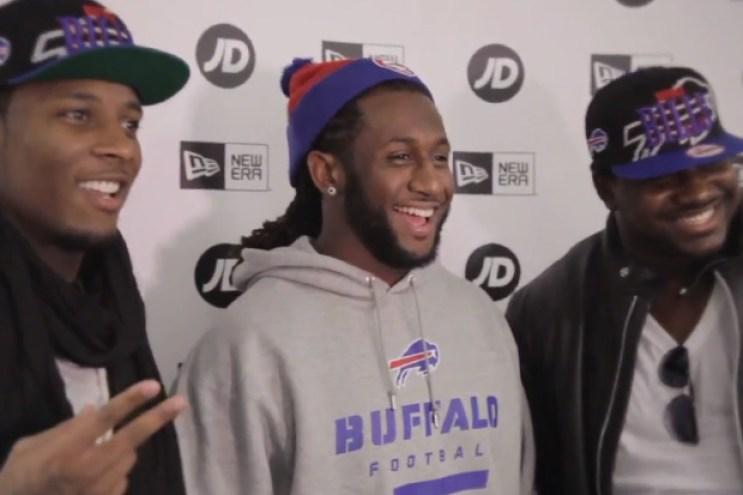 Marcell Dareus, Stevie Johnson and Kelvin Sheppard of the Buffalo Bills New Era Meet and Greet @ JD Sports London