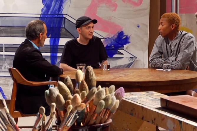 Pharrell Williams Interviews KAWS & David Salle | Video
