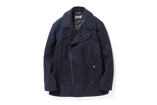 stussy x schott military pea coat