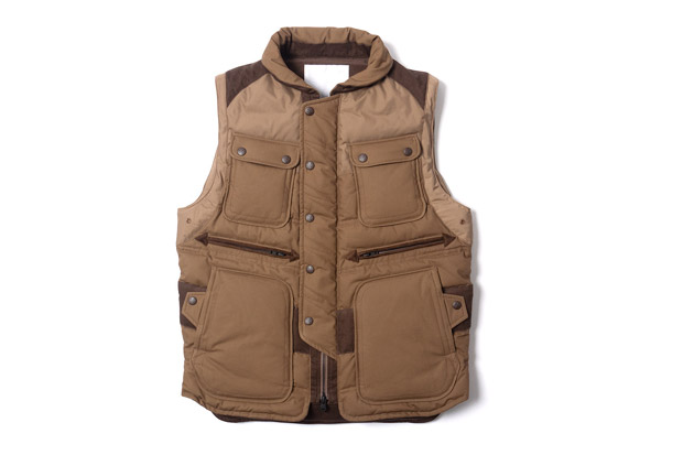 white mountaineering cotton cloth luggage down vest
