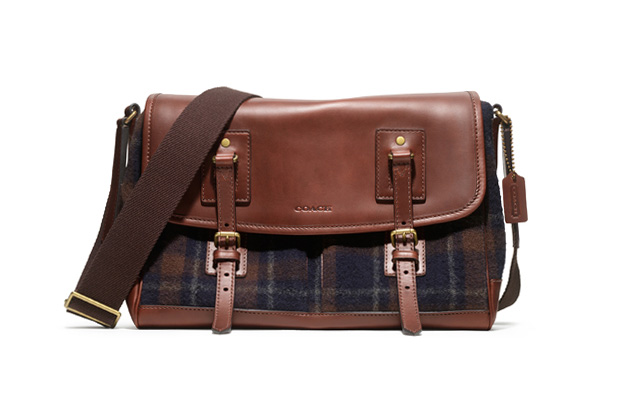 woolrich woolen mills x coach bleecker plaid messenger bag