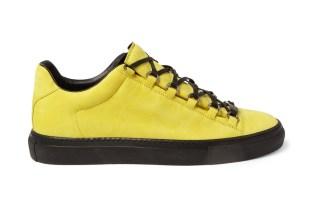 Balenciaga Arena Creased Yellow Leather Sneakers