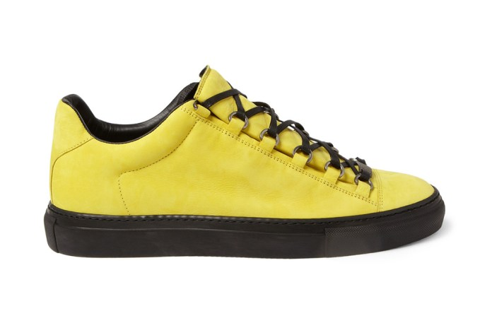 Balenciaga Arena Creased Yellow Leather Sneakers