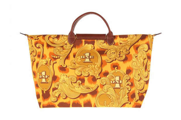 jeremy scott x longchamp pliage leopard flourish bag