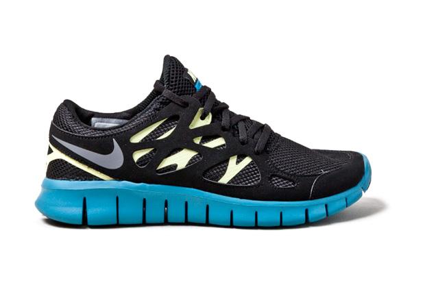 nike free run 2 black yellow blue