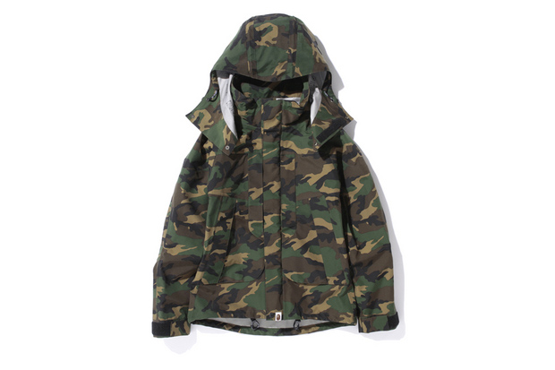 a bathing ape woodland camo gore tex short snowboard jacket