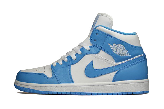 air jordan 1 retro mid white university blue