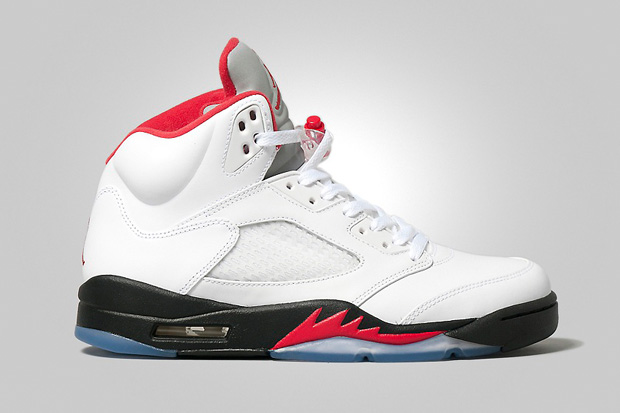 Air Jordan 5 Retro White/Fire Red-Black