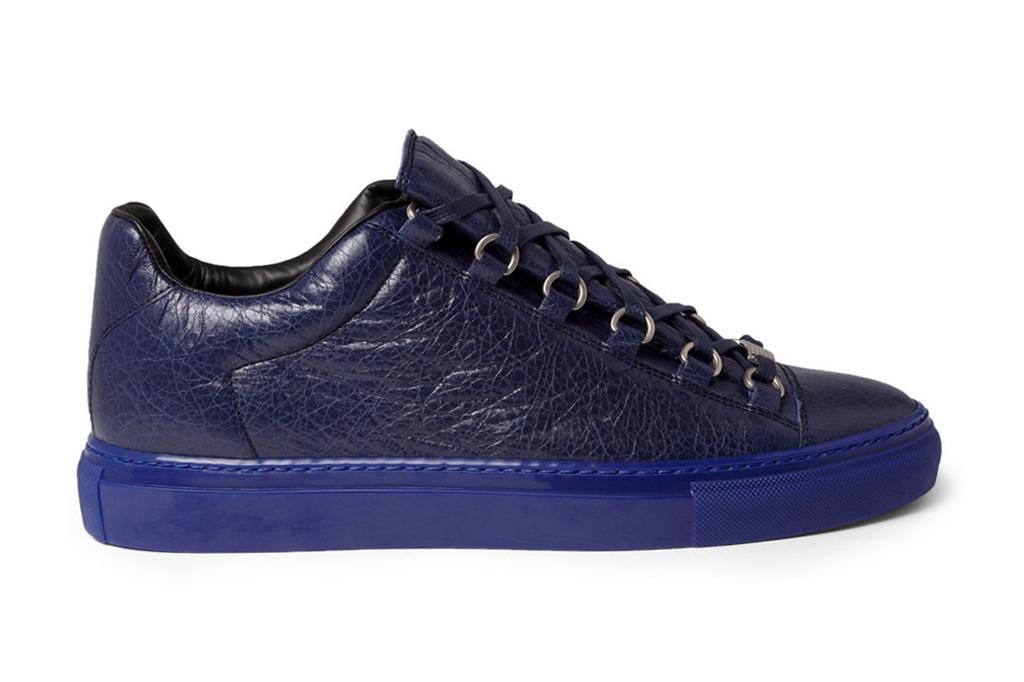 Balenciaga Arena Creased Navy Leather Sneakers